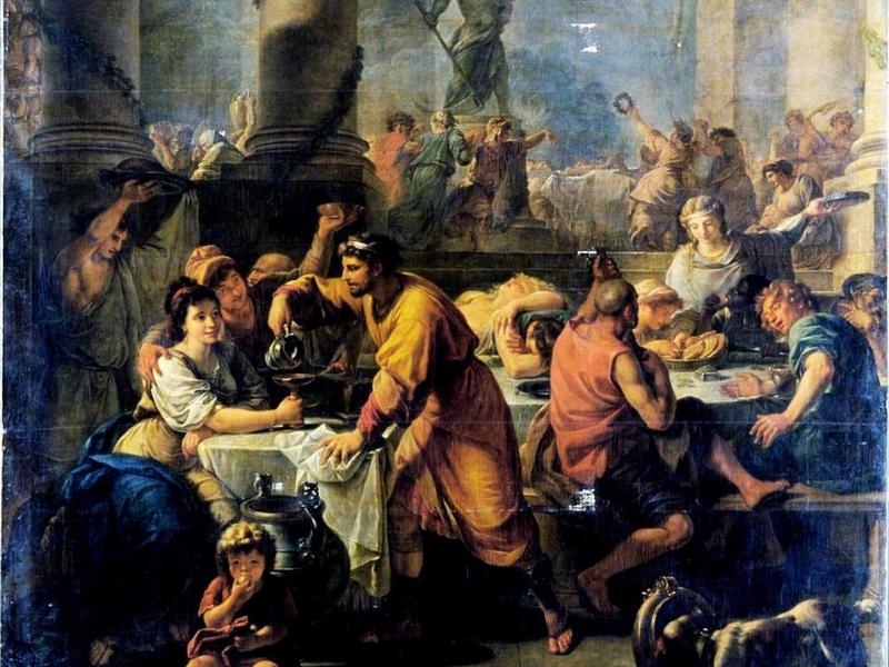 Oslava Saturnálií ve starém Římě na klasické malbě. Oslavy zahrnovaly dárky, hostiny a maškarní veselí.